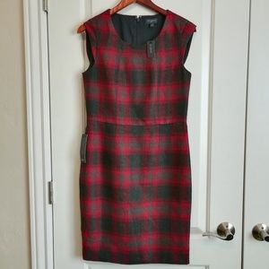 NWT The Limited red and gray plaid sheath dress